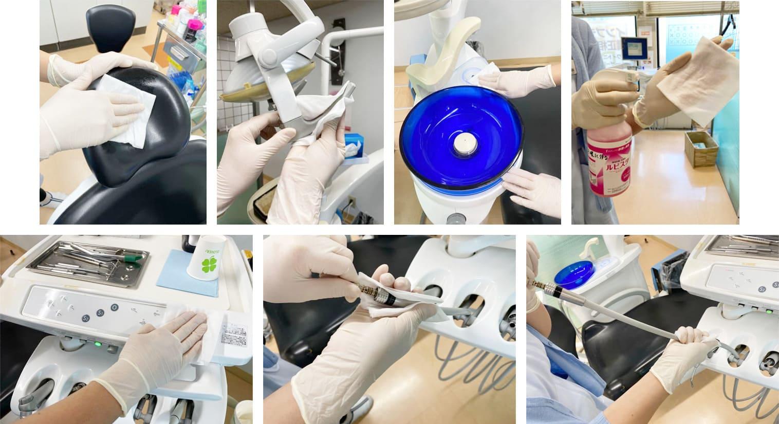 市川市 南行徳 ソコラ南行徳店 ココロ南行徳歯科クリニック 新型コロナウイルス対策 使用後のユニット(患者様が座るイスや、ライト、サイドテーブル、バキュームホースなど)について